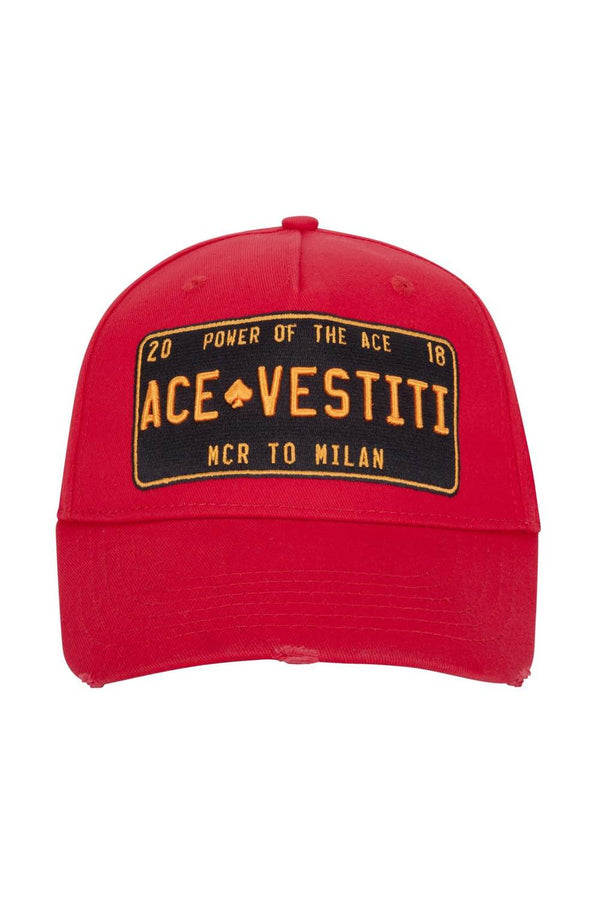 Ace Vestiti Distressed Plate Cap - Red