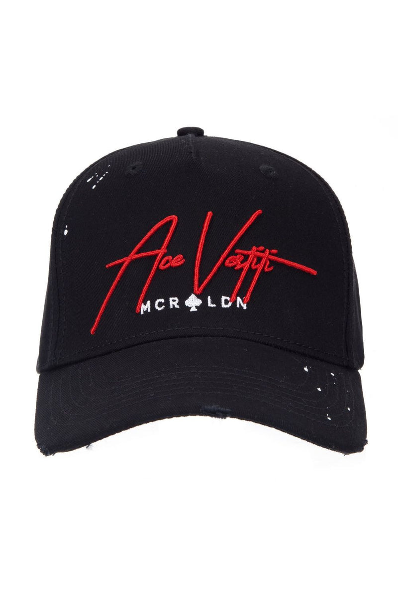 Ace Vestiti Distressed Signature Plaint Splatt Baseball Cap - Black/Red - 1