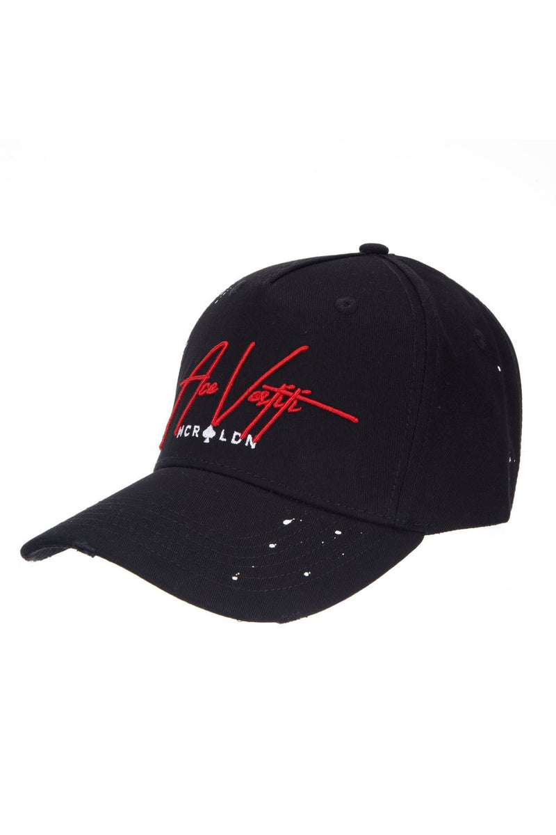 Ace Vestiti Distressed Signature Plaint Splatt Baseball Cap - Black/Red - 2