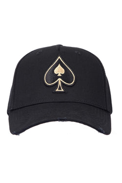 Ace Vestiti Distressed Spade BaseBall Cap - Black/Gold