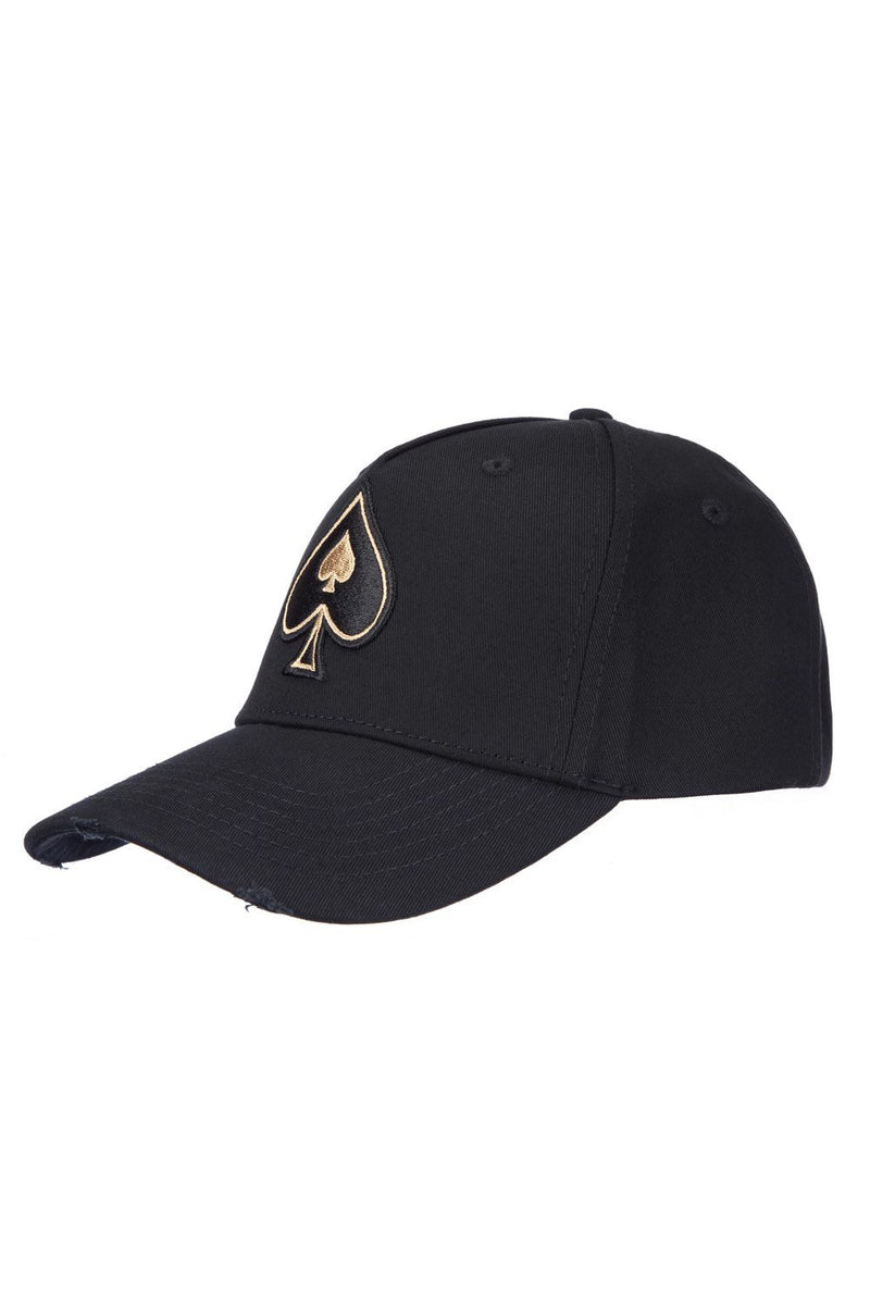 Ace Vestiti Distressed Spade BaseBall Cap - Black/Gold - 1