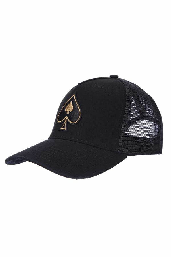Ace Vestiti Rose Gold Spades Trucker - Black - 1