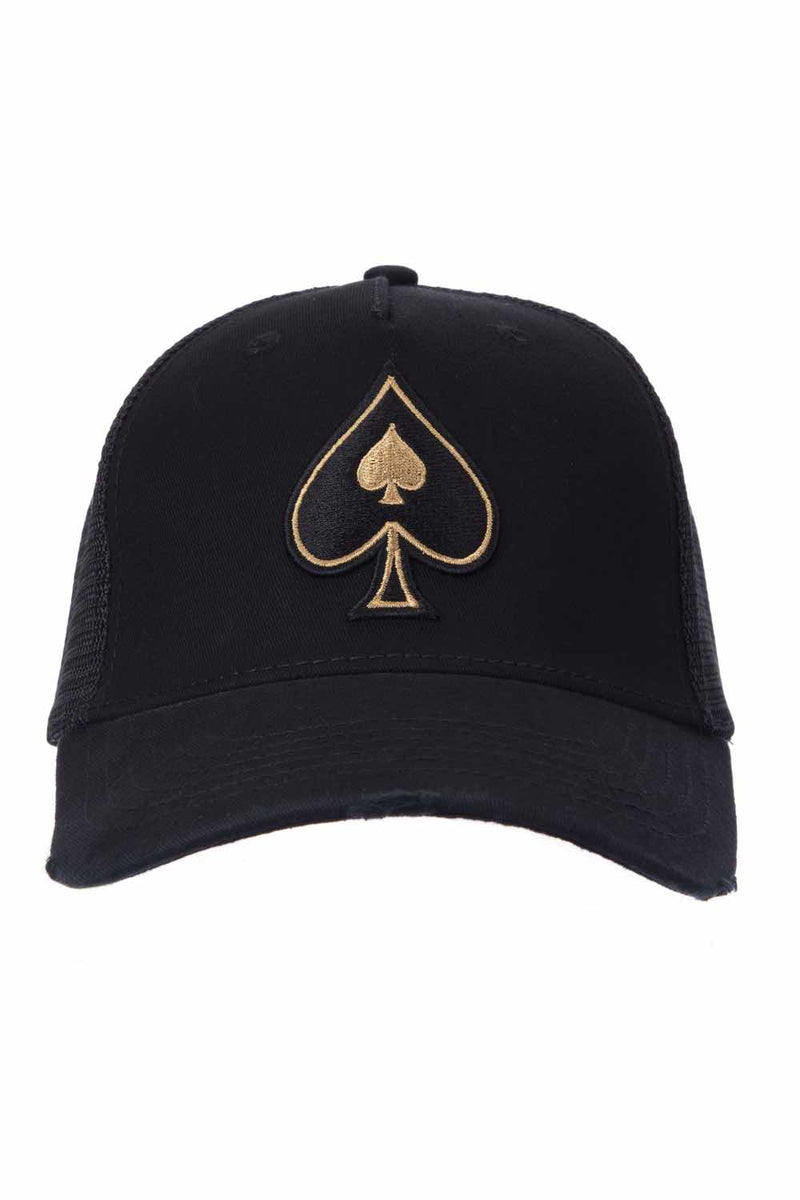 Ace Vestiti Rose Gold Spades Trucker - Black