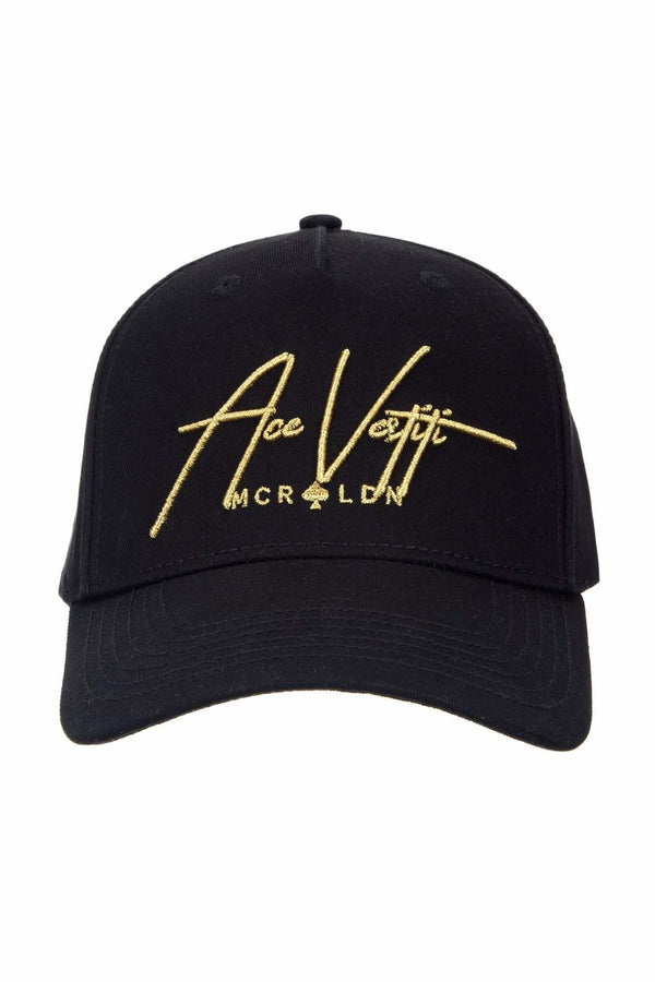Ace Vestiti Signature BaseBall Cap - Black/Metallic Gold - 1