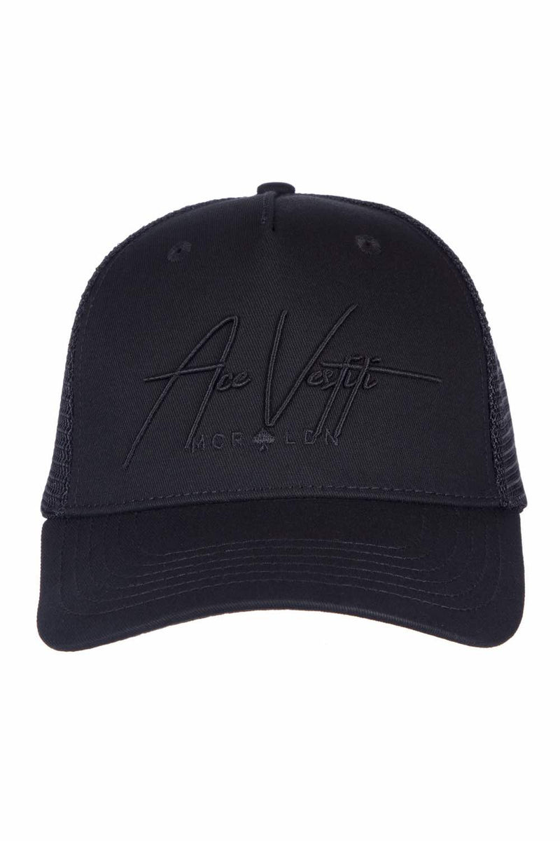 Ace Vestiti Signature Mesh Trucker Cap - All Black