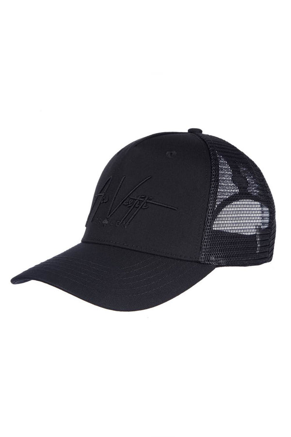 Ace Vestiti Signature Mesh Trucker Cap - All Black - 1