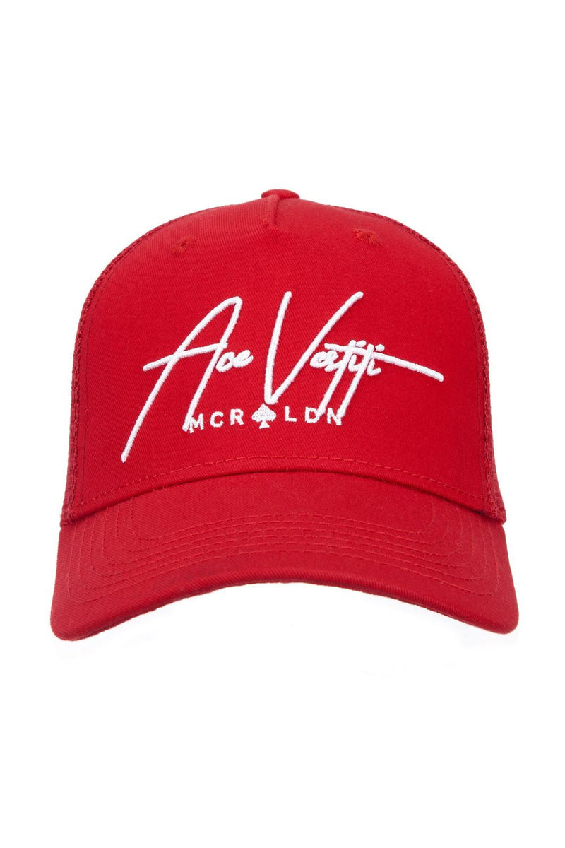 Ace Vestiti Signature Mesh Trucker Cap - Red - 2
