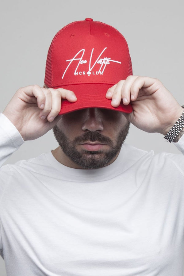 Ace Vestiti Signature Mesh Trucker Cap - Red