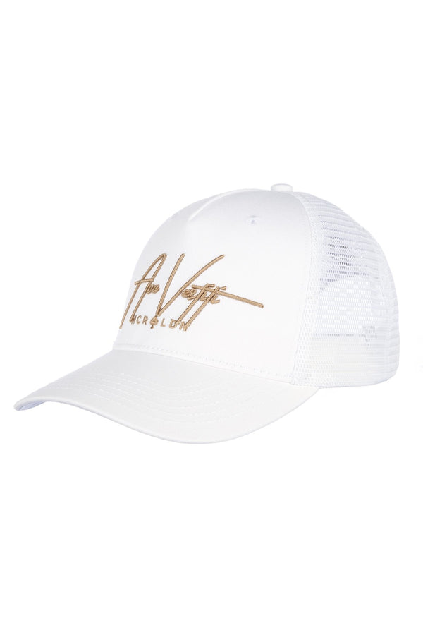 Ace Vestiti Signature Mesh Trucker Cap - White/Gold - 1