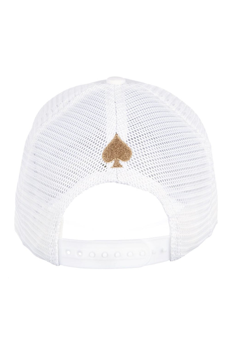 Ace Vestiti Signature Mesh Trucker Cap - White/Gold - 2