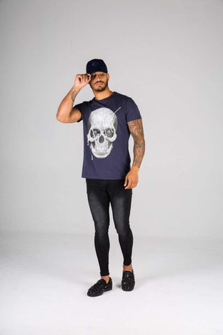 Ace Vestiti Skull Signature T-Shirt - Navy - 1