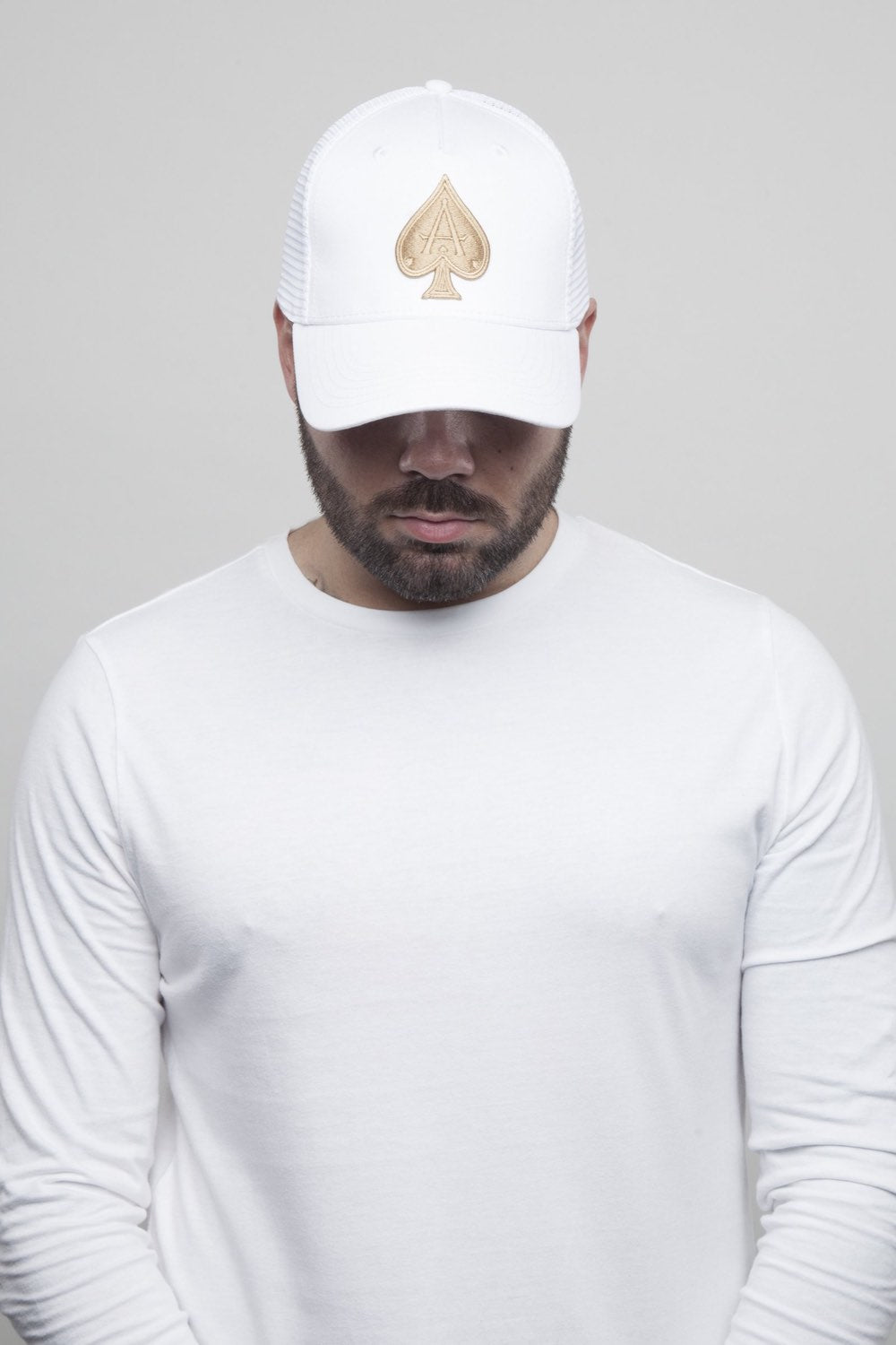 Ace Vestiti Mesh Trucker Cap - White/Gold