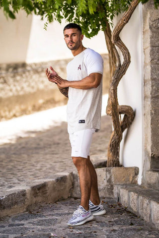 Aces Couture Curved Hem Tee - White Marl - 1