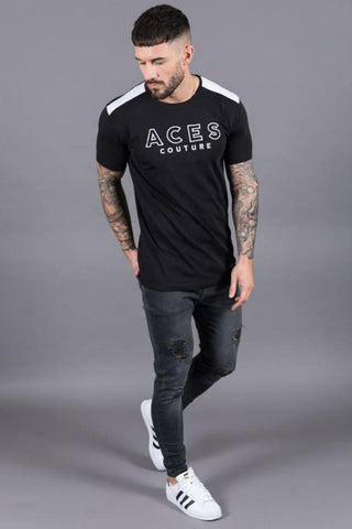 Aces Couture Embroidered T-Shirt - Black