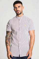 Aces Couture Short Sleeve Pinstripe Shirt - White/ Burgundy