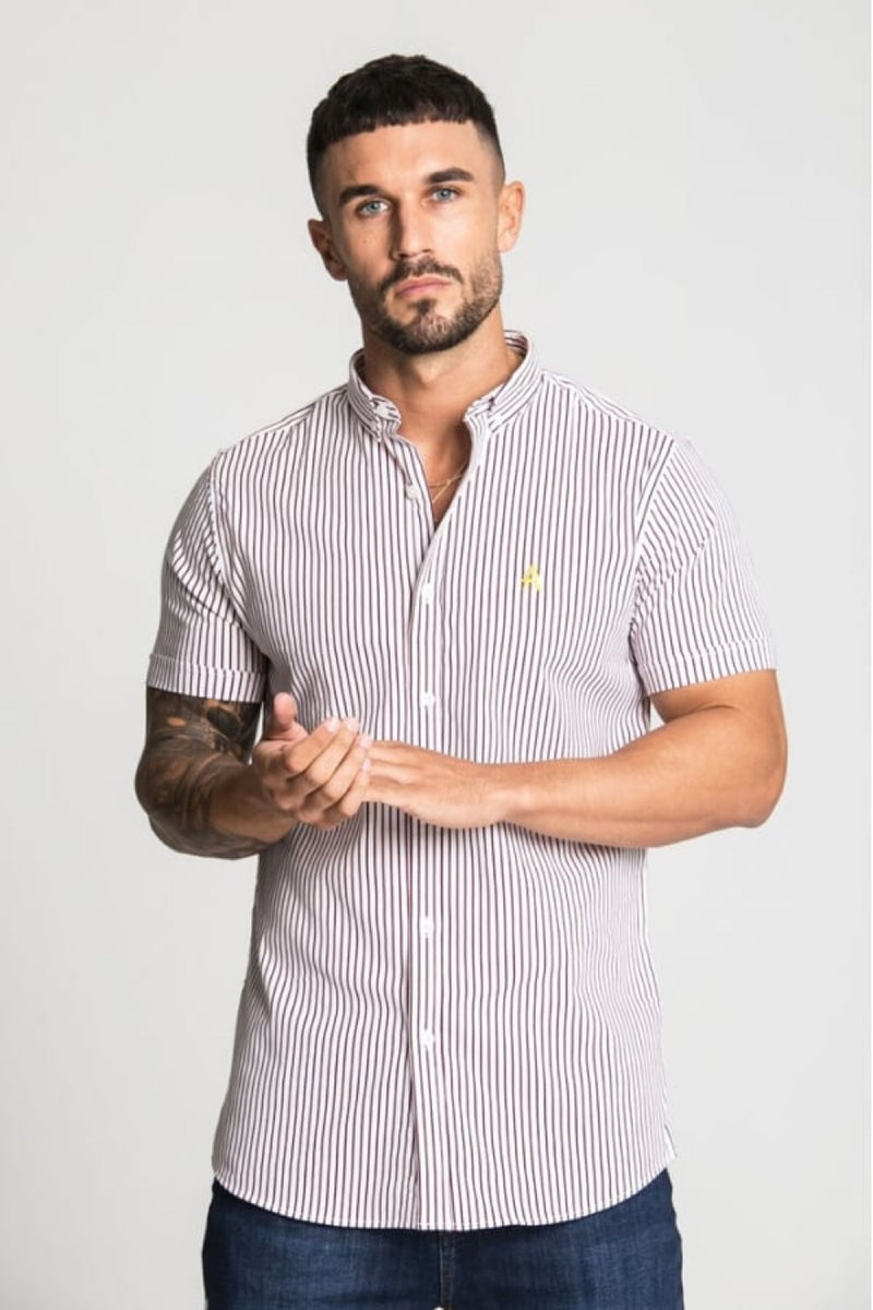 Aces Couture Short Sleeve Pinstripe Shirt - White/ Burgundy - 3
