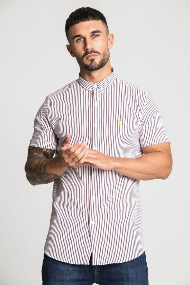 Aces Couture Short Sleeve Pinstripe Shirt - White/ Burgundy - 4