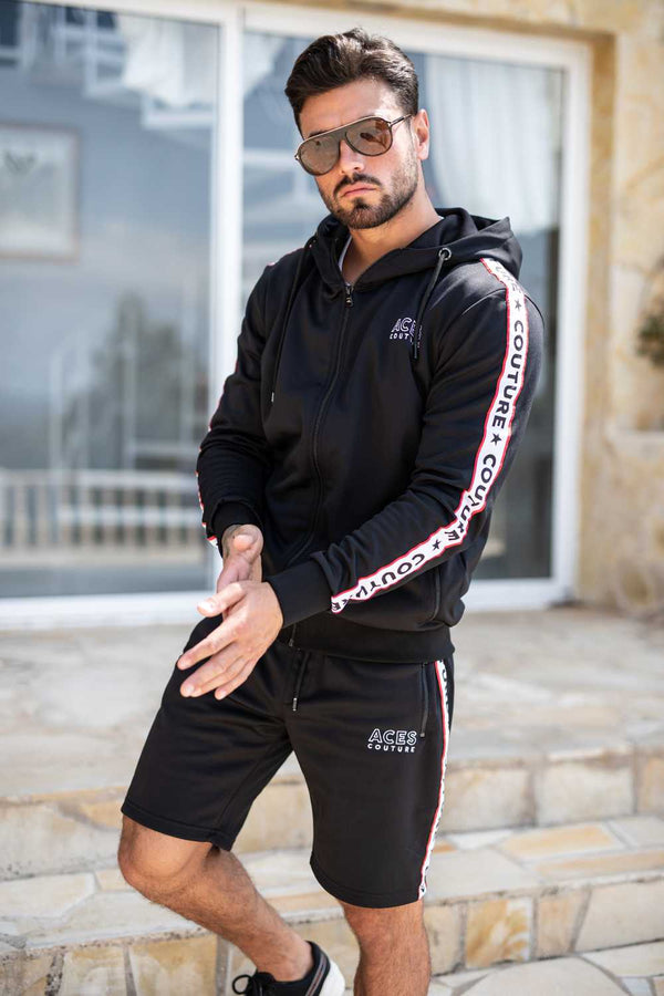 Aces Couture Tape Poly Hoodie - Black - 3