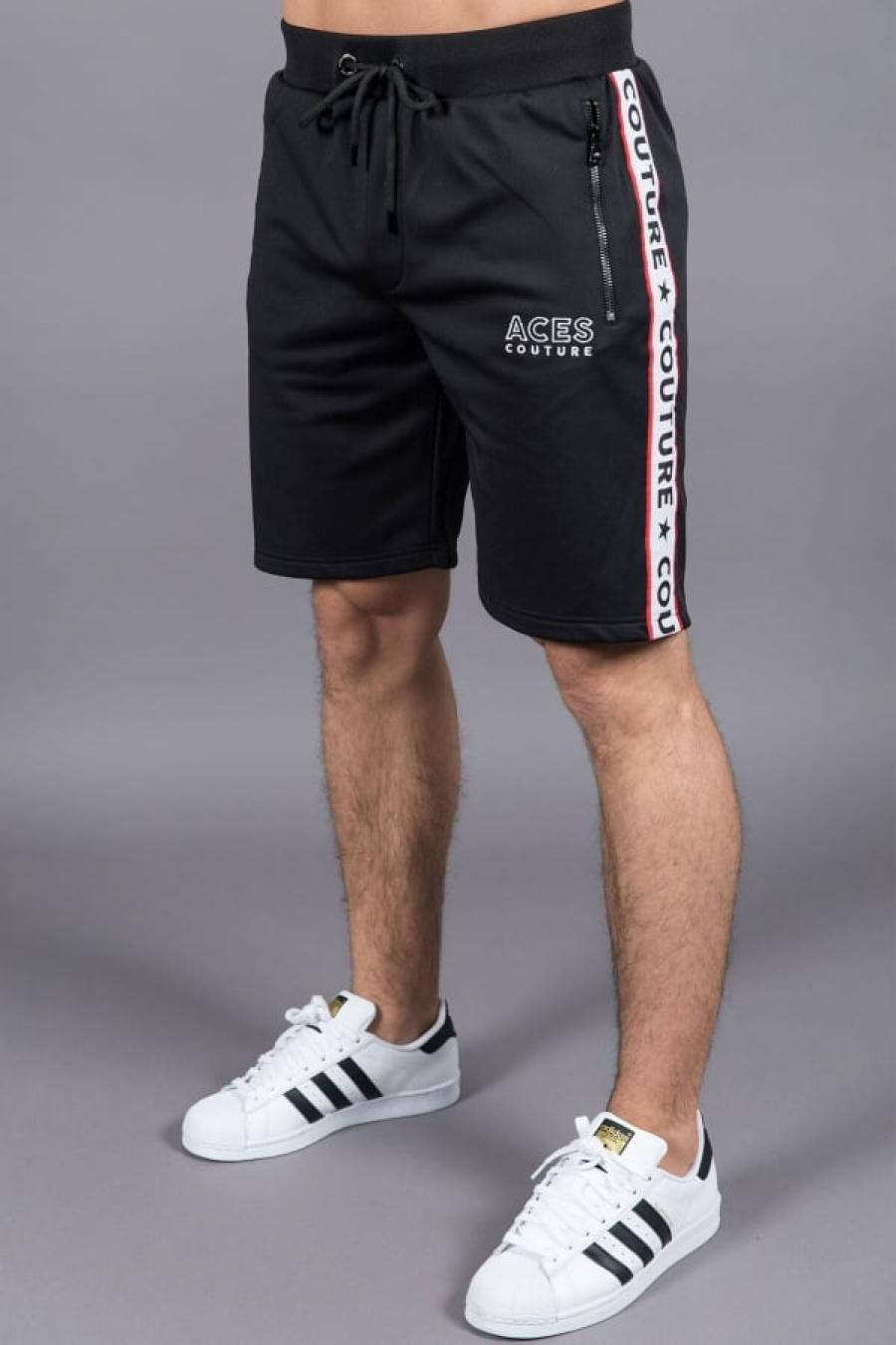 Aces Couture Tape Poly Shorts - Black