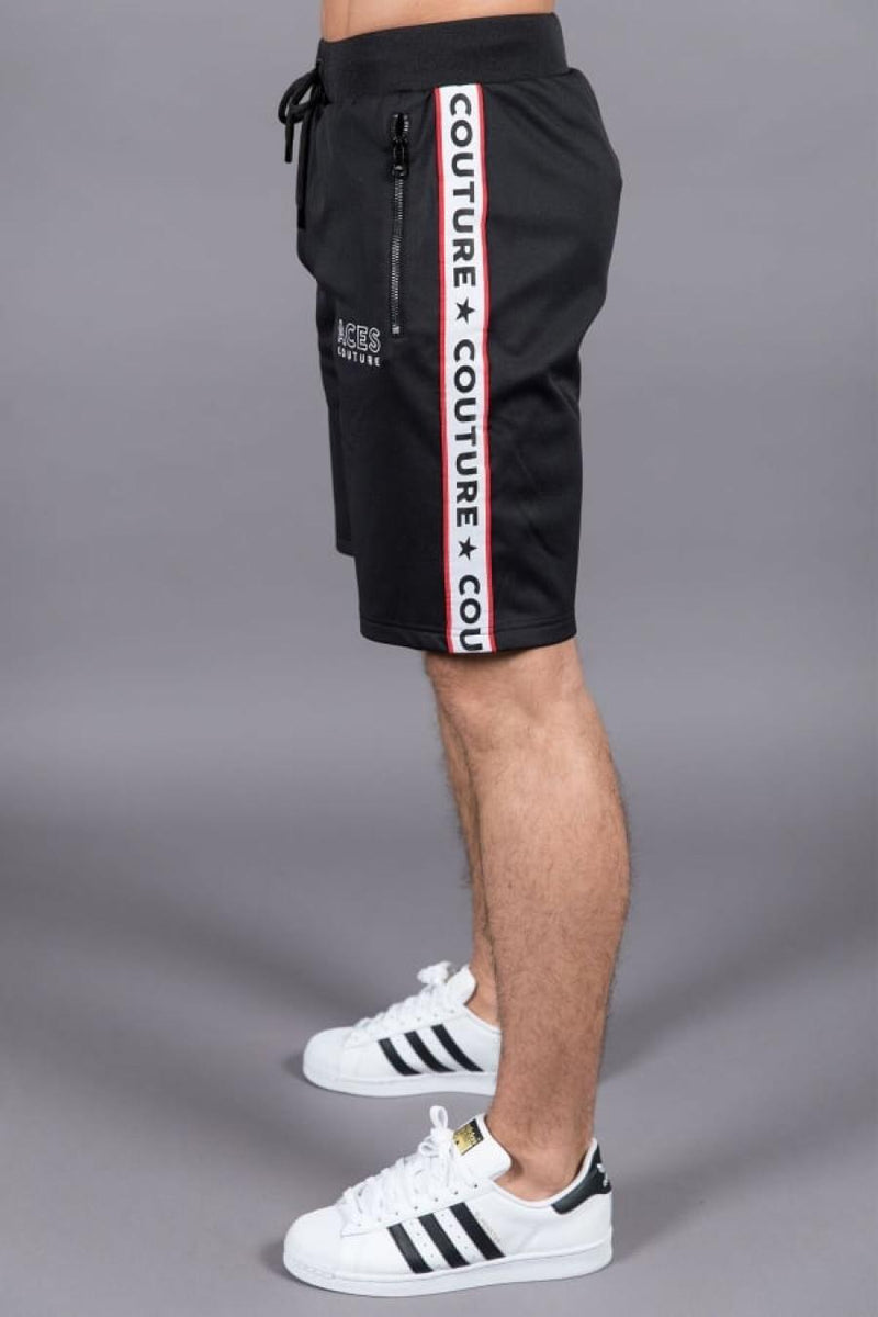 Aces Couture Tape Poly Shorts - Black - 1