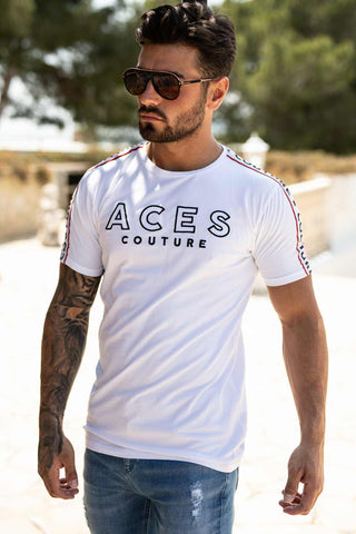 Aces Couture Tape T-Shirt - White