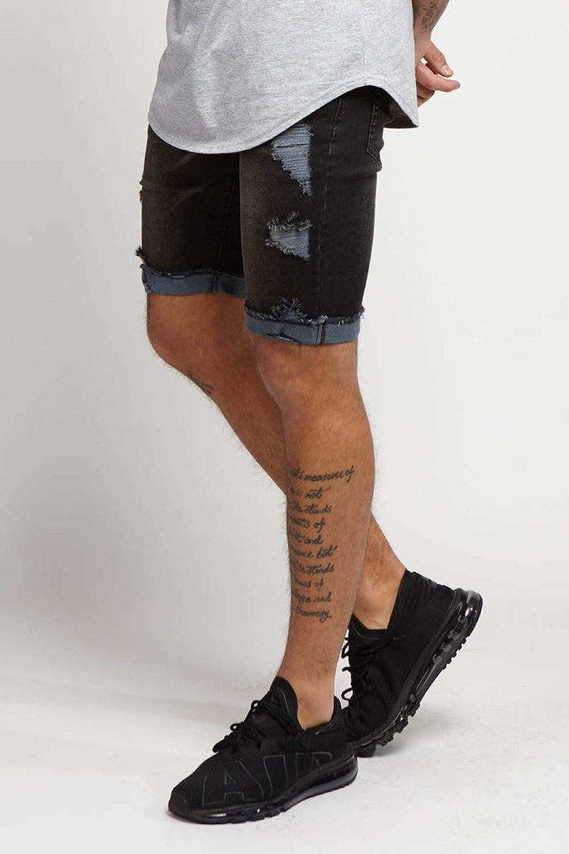 Always Rare Donnie Destroyed Denim Shorts - Black