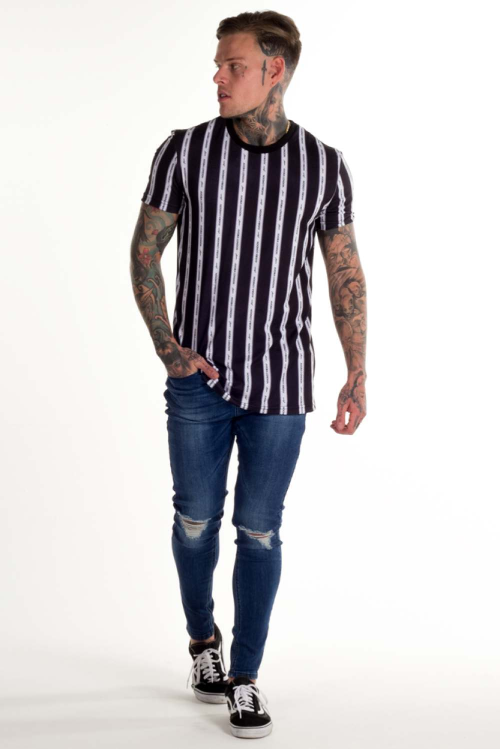 Avora London Blake Striped T-Shirt - Navy - 1