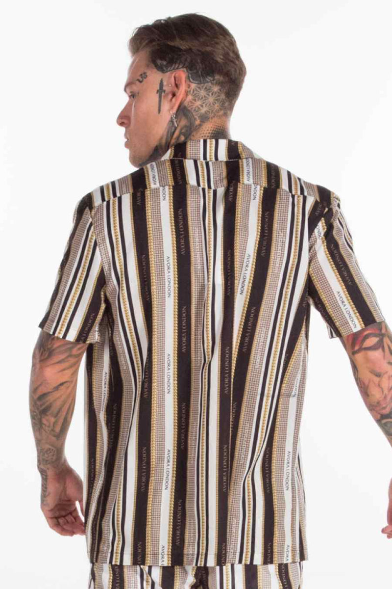 Avora London Chains Stipe Resort Shirt - Black/White/Gold - 4