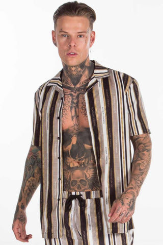Avora London Chains Stipe Resort Shirt - Black/White/Gold - 1