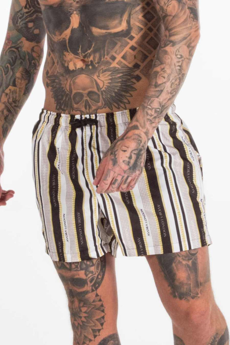 Avora London Chains Stripe Swim Shorts - Black/White/Gold - 4