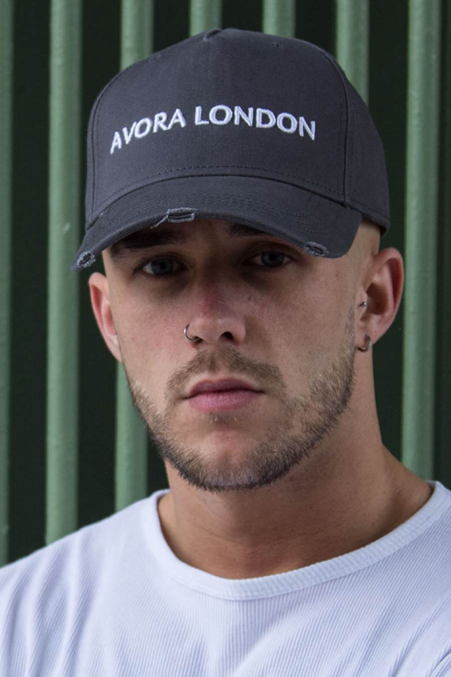 Avora London Distressed Peak Trucker Cap - Charcoal/White