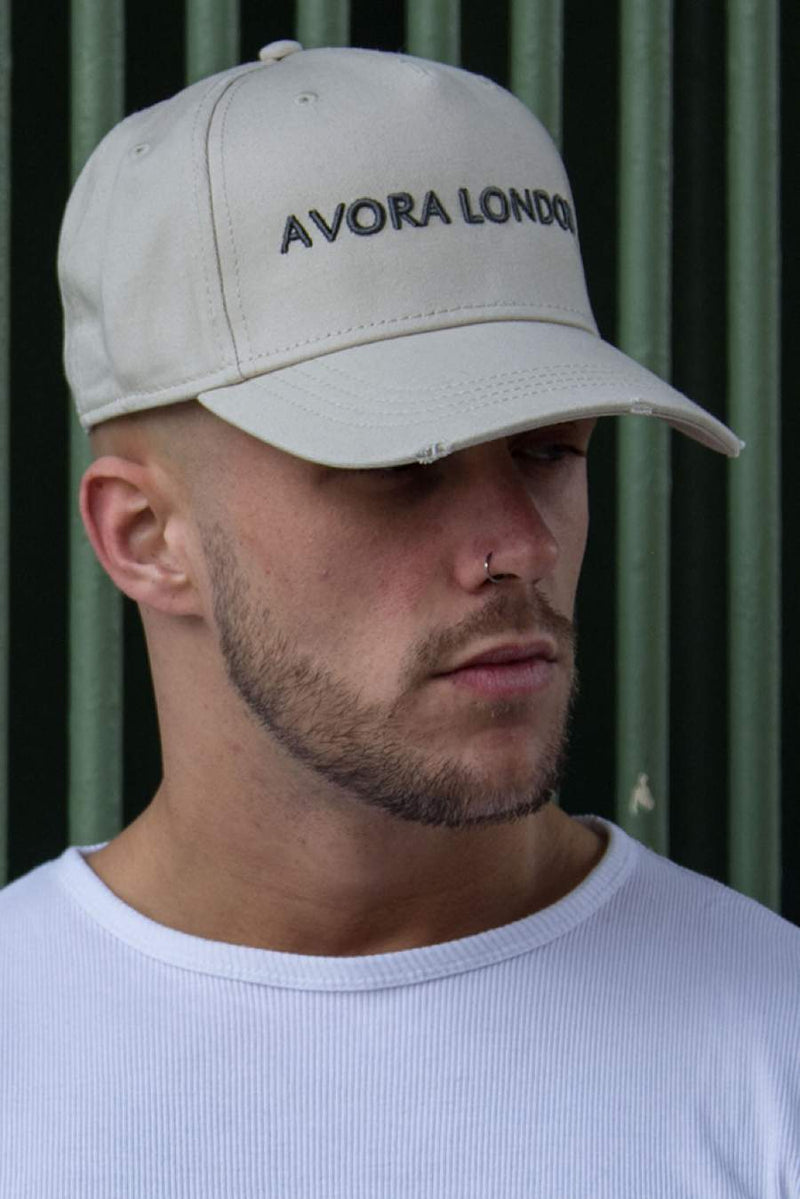Avora London Distressed Peak Trucker Cap - Sand/Charcoal
