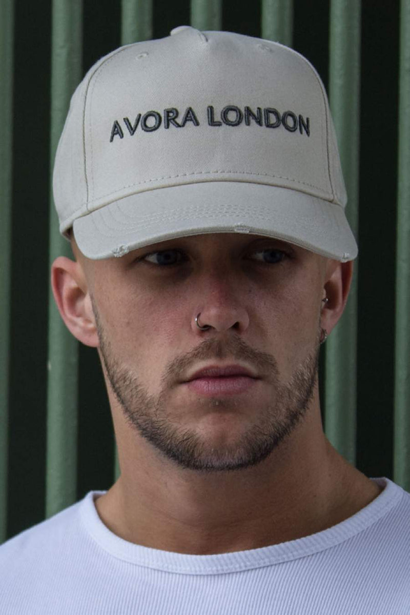 Avora London Distressed Peak Trucker Cap - Sand/Charcoal - 1
