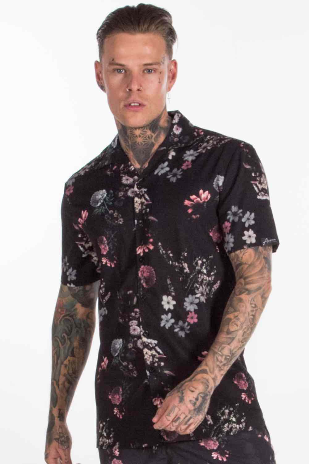 Avora London Fort Floral Resort Shirt - Black