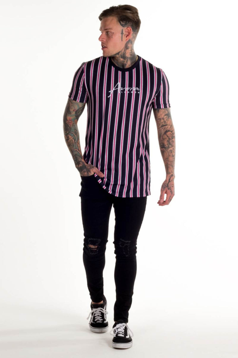 Avora London Jackson Striped T-Shirt - Navy/White/Pink - 2