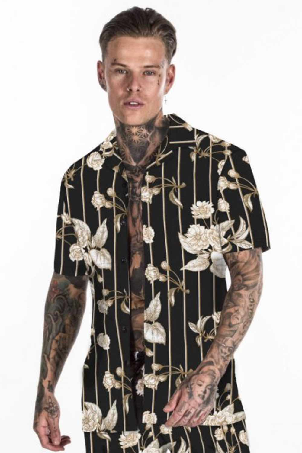 Avora London Jordan Pinstripe Floral Resort Shirt - Black