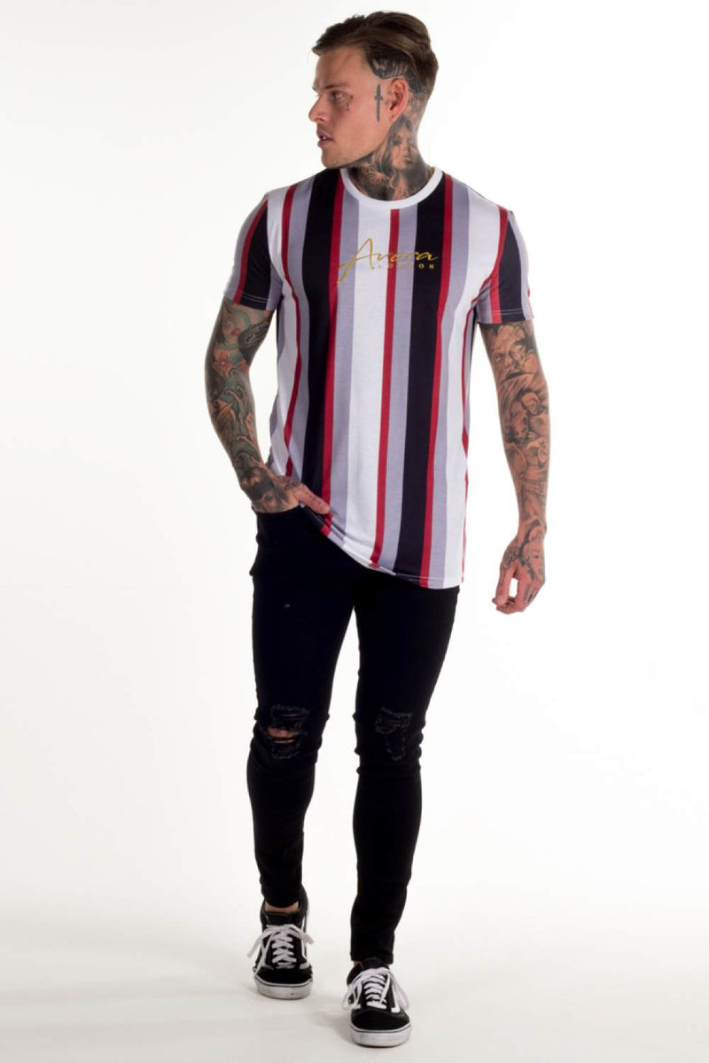 Avora London Jose Striped T-Shirt - White/Navy/Red - 3