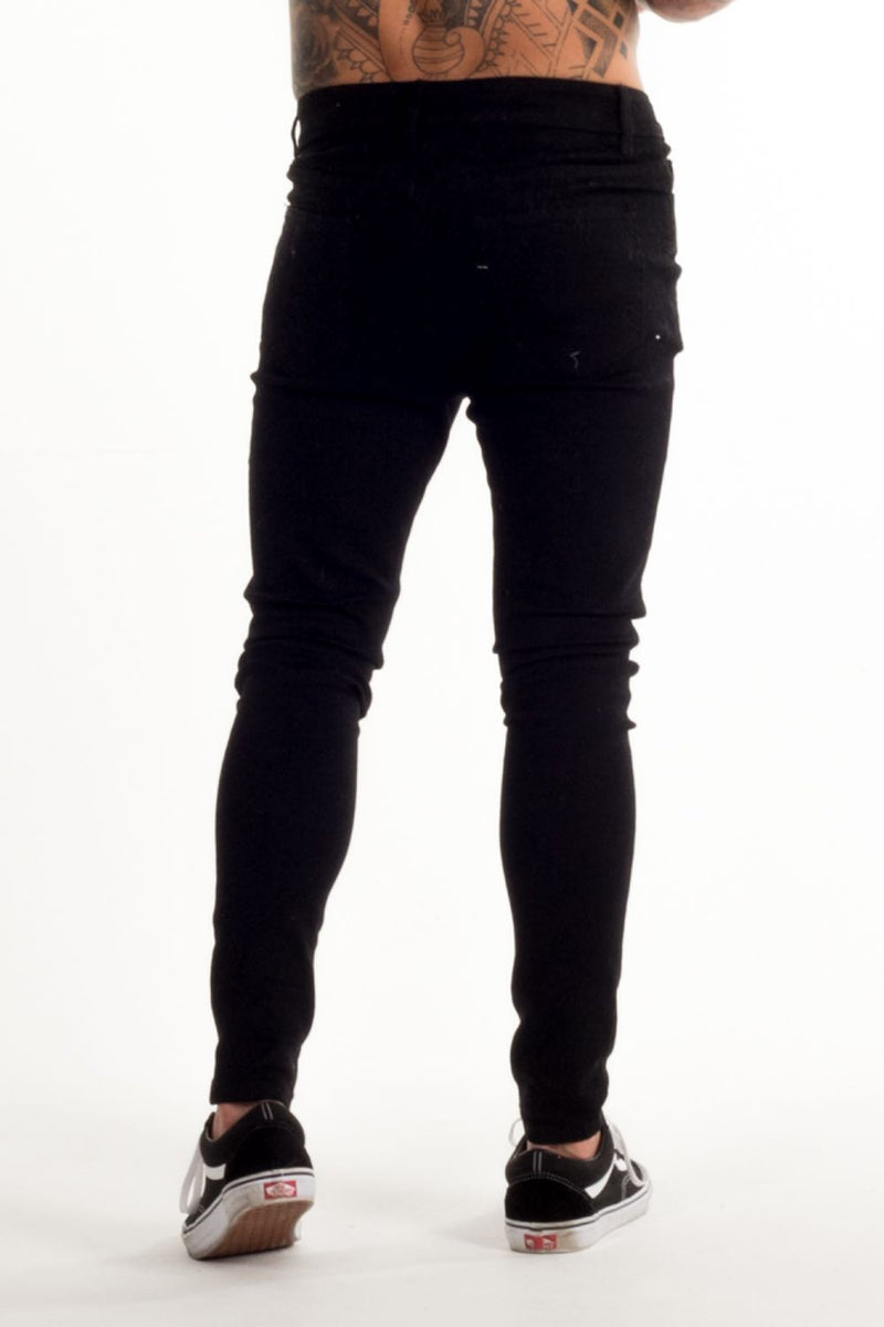 Avora London Skinny Stretch Non Ripped Jeans - Black - 1