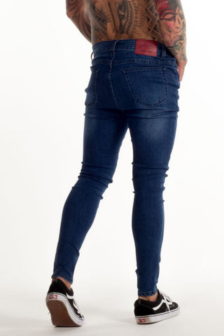 Avora London Skinny Stretch Non Ripped Jeans - Dark Blue - 1