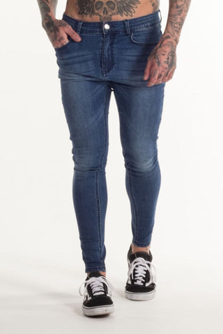 Avora London Skinny Stretch Non Ripped Jeans - Dark Blue