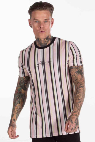 Avora London Zander Striped T-Shirt - Peach