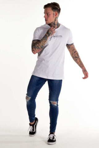 Avora London Zane T-Shirt - White/Navy - 1