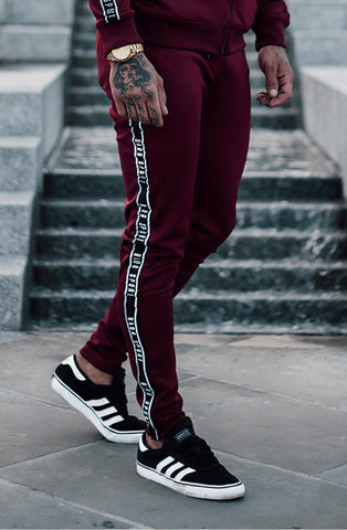 BADR Sport B-Logo Fitted Poly Joggers - Burgundy