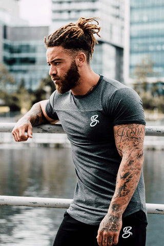 BADR Sport B-Logo Fitted T-Shirt - Charcoal