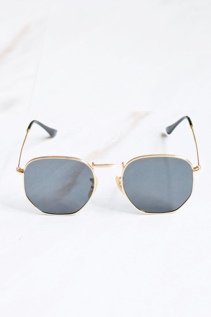 Men's Black Lens Gold Frame Sunglasses