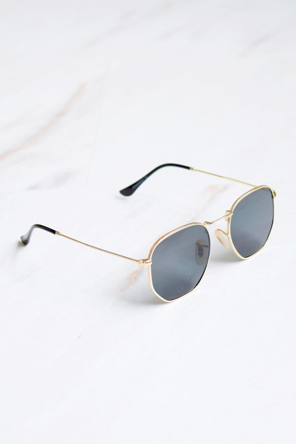 Bali Black Lens Gold Frame Sunglasses - 1