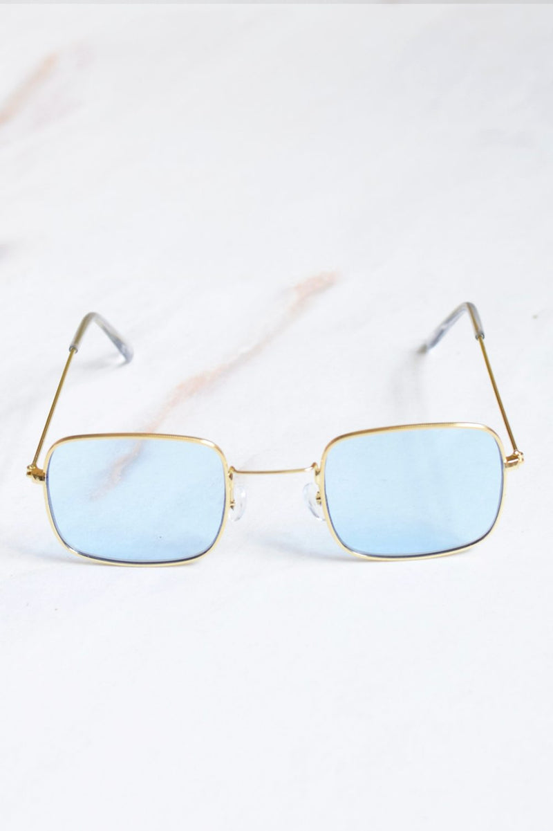 Cali Blue Lens Gold Frame Sunglasses - 1