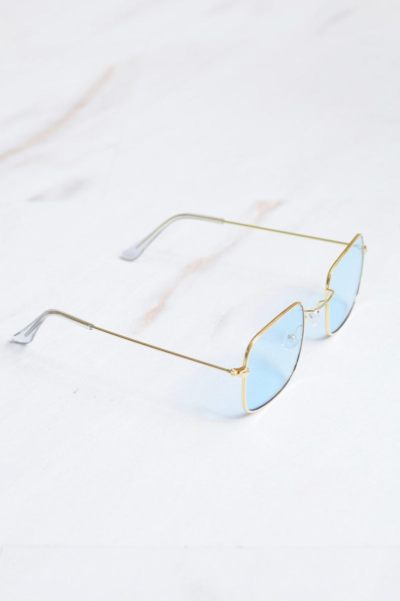 Cali Blue Lense Gold Frame Sunglasses