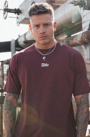 Chained & Able Brand T-Shirt - Burgundy