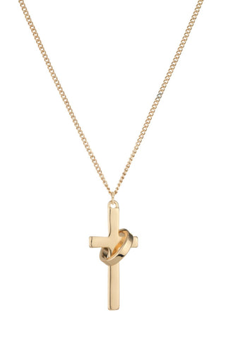 Chained & Able Cross Ring Necklace- Gold